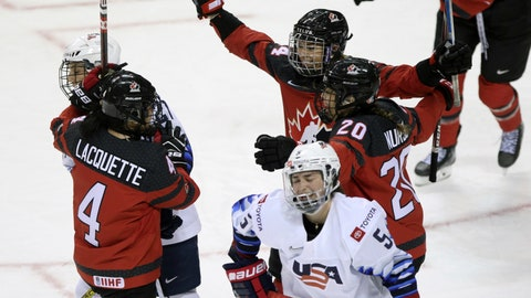 <p>               Canada celebrates a goal to tie the game against the USA during the third period of the Rivalry Series hockey game at the Save-On-Foods Memorial Centre in Victoria, British Columbia, Monday, Feb. 3, 2020. (Chad Hipolito/The Canadian Press via AP)             </p>