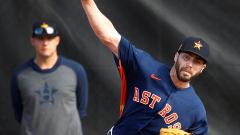 <p>               Houston Astros pitcher Austin Pruitt (51) warms up before pitching live batting practice during baseball spring training Wednesday, Feb. 19, 2020, in West Palm Beach, Fla. (Karen Warren/Houston Chronicle via AP)             </p>