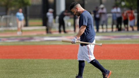 <p>               Houston Astros' Jose Altuve carries a bat as he heads out to hit during spring training baseball practice Thursday, Feb. 13, 2020, in West Palm Beach, Fla. (AP Photo/Jeff Roberson)             </p>