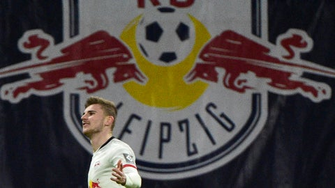 <p>               Leipzig's Timo Werner celebrates scoring his side's third goal during the German Bundesliga soccer match between RB Leipzig and Union Berlin in Leipzig, Germany, Saturday, Jan. 18, 2020. (AP Photo/Jens Meyer)             </p>