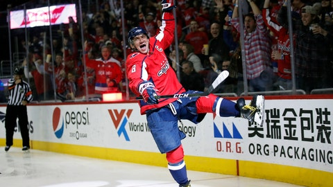 <p>               FILE- In this March 12, 2018, file photo, Washington Capitals left wing Alex Ovechkin celebrates his goal in the second period of an NHL hockey game against the Winnipeg Jets, Monday,, in Washington. It was Ovechkin's 600th career goal. Ovechkin is on the verge of becoming the eighth player in NHL history to score 700 career goals.  (AP Photo/Alex Brandon, File)             </p>
