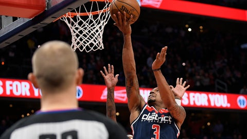 <p>               Washington Wizards guard Bradley Beal (3) goes to the basket for what was to be the winning basket during the second half of an NBA basketball game against the Dallas Mavericks, Friday, Feb. 7, 2020, in Washington. (AP Photo/Nick Wass)             </p>