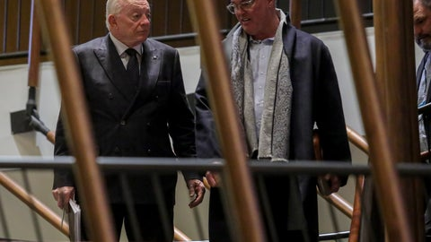 <p>               Dallas Cowboys owner Jerry Jones, left, and his son Stephen Jones, the team's executive vice president, leave after NFL owners meet to discuss a proposed labor agreement, Thursday Feb. 20, 2020, in New York. (AP Photo/Bebeto Matthews)             </p>