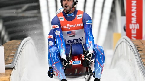<p>               Chris Mazdzer and Jayson Terdiman of United States finish their team relay race at the Luge World Cup the World Cup luge relay event in Krasnaya Polyana, near the Black Sea resort of Sochi, southern Russia, Sunday, Feb. 16, 2020. (AP Photo/Artur Lebedev)             </p>