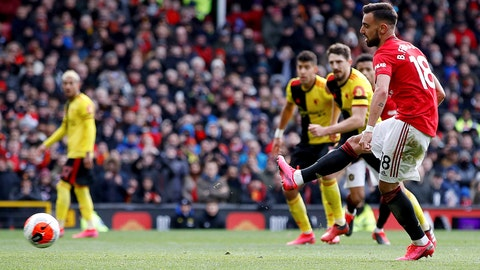 <p>               Manchester United's Bruno Fernandes scores his side's first goal of the game against Watford from the penalty spot during their English Premier League soccer match at Old Trafford in Manchester, England, Sunday Feb. 23, 2020. (Martin Rickett/PA via AP)             </p>