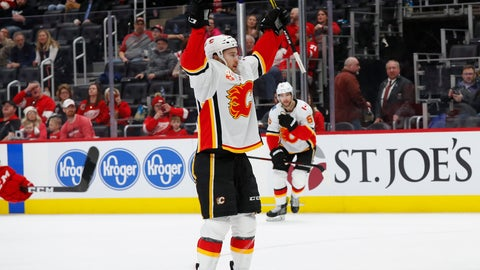 <p>               Calgary Flames left wing Andrew Mangiapane (88) celebrates his goal against the Detroit Red Wings in the second period of an NHL hockey game Sunday, Feb. 23, 2020, in Detroit. (AP Photo/Paul Sancya)             </p>