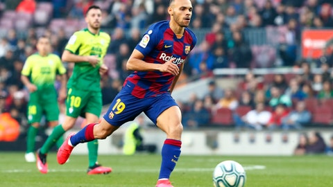 <p>               Barcelona's new signing Martin Braithwaite runs with the ball during a Spanish La Liga soccer match between Barcelona and Eibar at the Camp Nou stadium in Barcelona, Spain, Saturday Feb. 22, 2020. (AP Photo/Joan Monfort)             </p>