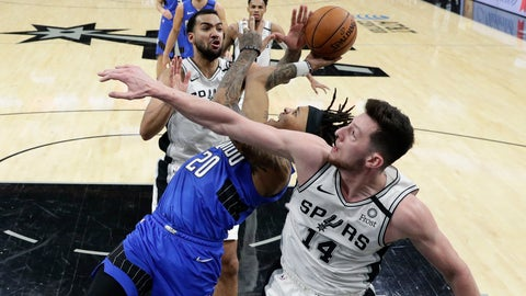 <p>               Orlando Magic guard Markelle Fultz (20) is pressured by San Antonio Spurs forward Drew Eubanks (14) and Trey Lyles, left, as he tries to score during the second half of an NBA basketball game in San Antonio, Saturday, Feb. 29, 2020. (AP Photo/Eric Gay)             </p>