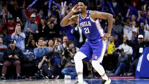 <p>               Philadelphia 76ers' Joel Embiid celebrates after a three-point basket during the second half of an NBA basketball game against the Atlanta Hawks, Monday, Feb. 24, 2020, in Philadelphia. (AP Photo/Matt Slocum)             </p>