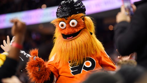 <p>               FILE – In this Monday, Jan. 13, 2020 file photo, the Philadelphia Flyers' mascot, Gritty, performs during an NHL hockey game in Philadelphia. Philadelphia police said Gritty has been cleared of allegations that he assaulted a 13-year-old boy during a photo shoot in November of 2019. (AP Photo/Derik Hamilton, File)             </p>