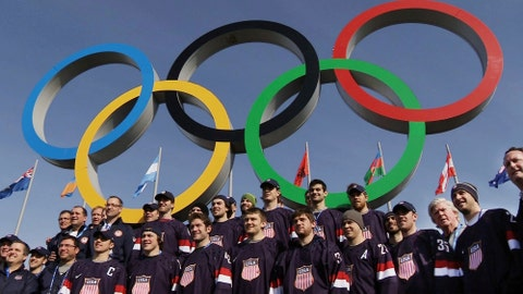 <p>               FILE - In this file still image taken from video Feb. 20, 2014, members of the men's ice hockey team from the United States poset in front of the Olympic rings in Olympic Park during the 2014 Winter Olympics in Sochi, Russia. The NHL remains reluctant to reverse course and compete at the 2022 Winter Games in Beijing despite new assurances from Olympic officials to lift various major stumbling blocks, which also have the backing of the league's players. (AP Photo/Ben Jary, File)             </p>