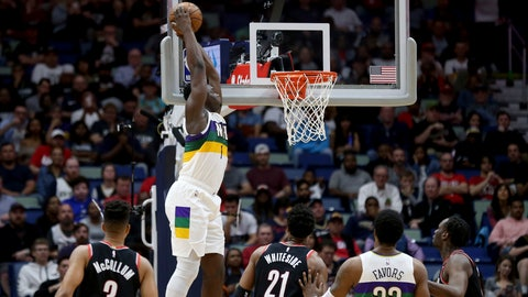 <p>               New Orleans Pelicans forward Zion Williamson (1) dunks the ball against the Portland Trail Blazers in the first half of an NBA basketball game in New Orleans, Tuesday, Feb. 11, 2020. (AP Photo/Rusty Costanza)             </p>