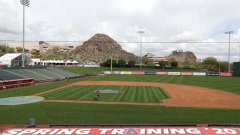 <p>               A grounds crew member applies fertilizer to the field as players report for spring training baseball, Tuesday, Feb. 11, 2020, in Tempe, Ariz. Los Angeles Angels pitchers and catchers start practice on Wednesday. (AP Photo/Darron Cummings)             </p>