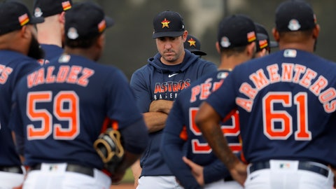 <p>               Houston Astros pitcher Justin Verlander crosses his arms as he stands with his teammates at the start of their first spring training baseball workout of the season Thursday, Feb. 13, 2020, in West Palm Beach, Fla. (AP Photo/Jeff Roberson)             </p>