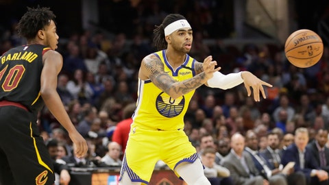 <p>               Golden State Warriors' D'Angelo Russell (0) passes as Cleveland Cavaliers' Darius Garland (10) watches in the second half of an NBA basketball game, Saturday, Feb. 1, 2020, in Cleveland.  (AP Photo/Tony Dejak)             </p>