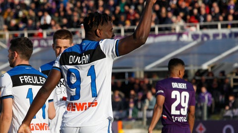 <p>               Atalanta's Duvan Zapata celebrates after scoring his side's first goal during the Italian Serie A soccer match between Fiorentina and Atalanta, at the Artemio Franchi stadium in Florence, Italy, Saturday, Feb. 8, 2020. (Marco Bucco/LaPresse via AP)             </p>