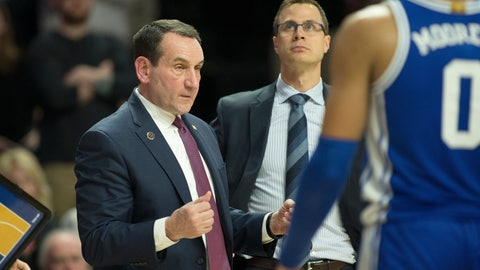 <p>               Duke head coach Mike Krzyzewski calls over his team at the end of regulation against Wake Forest during an NCAA college basketball game Tuesday, Feb. 25, 2020, in Winston-Salem, N.C. Wake Forest wins in double overtime 113-101. (AP Photo/Lynn Hey)             </p>