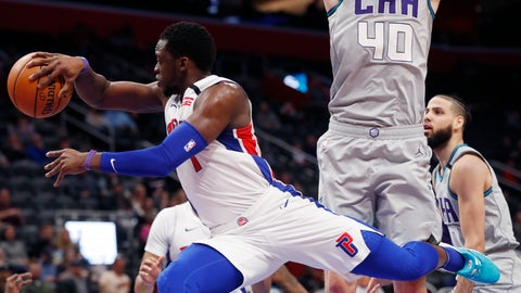 <p>               Detroit Pistons guard Reggie Jackson (1) passes around the defense of Charlotte Hornets center Cody Zeller (40) during the first half of an NBA basketball game, Monday, Feb. 10, 2020, in Detroit. (AP Photo/Carlos Osorio)             </p>