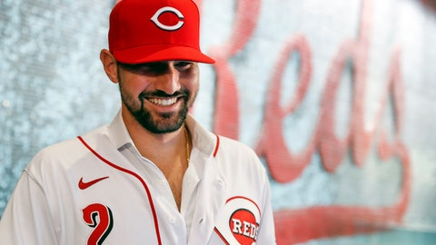 <p>               Cincinnati Reds' Nick Castellanos waits for interviews to begin during a news conference announcing his signing with the baseball club, Tuesday, Jan. 28, 2020, in Cincinnati. Castellanos signed a $64 million, four-year deal with the Reds. (AP Photo/John Minchillo)             </p>