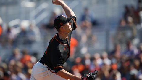 <p>               San Francisco Giants starting pitcher Drew Smyly throws against the Arizona Diamondbacks during the first inning of a spring training baseball game Monday, Feb. 24, 2020, in Scottsdale, Ariz. (AP Photo/Ross D. Franklin)             </p>