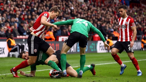 <p>               Sheffield United's Sander Berge, left, and Brighton and Hove Albion's Lewis Dunk during their cane against Sheffield, during their English Premier League soccer match at Bramall Lane in Sheffield, England, Saturday Feb. 22, 2020. (Tim Goode/PA via AP)             </p>