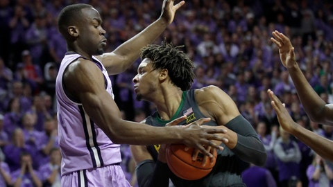 <p>               Baylor forward Freddie Gillespie, right, is covered by Kansas State forward Makol Mawien, left, during the first half of an NCAA college basketball game in Manhattan, Kan., Monday, Feb. 3, 2020. (AP Photo/Orlin Wagner)             </p>
