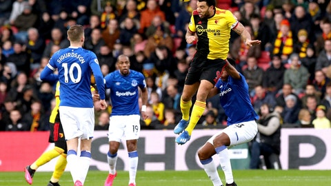 <p>               Watford's Troy Deeney, top right, heads the ball during the match against Everton during the English Premier League soccer match at Vicarage Road in Watford, England, Saturday Feb. 1, 2020. (Jonathan Brady/PA via AP)             </p>