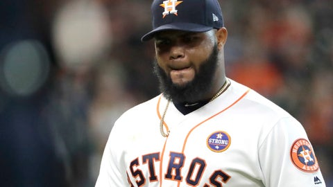 <p>               FILE - In this Sept. 16, 2017 file photo Houston Astros relief pitcher Francis Martes walks toward the dugout after being pulled during the eighth inning of a baseball game against the Seattle Mariners in Houston. Martes was suspended for the 2020 season following his second positive test for a performance-enhancing substance under baseball's major league drug program. Martes tested positive for Boldenone, the commissioner's office said Monday, Feb. 17, 2020. Boldenone is sold under the brand name Equipose and is used commonly on horses. (AP Photo/David J. Phillip, file)             </p>