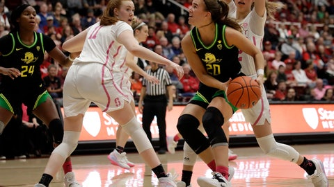 <p>               Oregon's Sabrina Ionescu (20) looks to shoot between Stanford's Ashten Prechtel (11) and Lexie Hull, right, in the first half of an NCAA college basketball game Monday, Feb. 24, 2020, in Stanford, Calif. (AP Photo/Ben Margot)             </p>