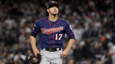 <p>               FILE - In this Oct. 4, 2019, file photo, Minnesota Twins starting pitcher Jose Berrios (17) reacts as he walks off the field at the end of the third inning against the New York Yankees during Game 1 of an American League Division Series baseball game in New York. The Twins beat Berríos in salary arbitration giving teams a 2-0 record in hearings this year. Berríos will be paid $4,025,000 rather than his request for $4.4 million. The decision was made Thursday, Feb. 6, 2020, by Frederic Horowitz, Andrew Strongin and Margaret Brogan, who heard the case a day earlier. (AP Photo/Frank Franklin II, File)             </p>