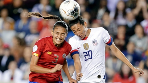 <p>               Costa Rica defender Maria Coto (3) and United States forward Christen Press (20) both go for a header during the second half of a Concacaf women's Olympic qualifying soccer match Monday, Feb. 3, 2020, in Houston. (AP Photo/Michael Wyke)             </p>