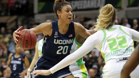 <p>               Connecticut's Olivia Nelson-Ododa, left, drives against South Florida's Kristyna Brabencova during the second half of an NCAA college basketball game Sunday, Feb. 16, 2020, in Tampa, Fla. (AP Photo/Mike Carlson)             </p>