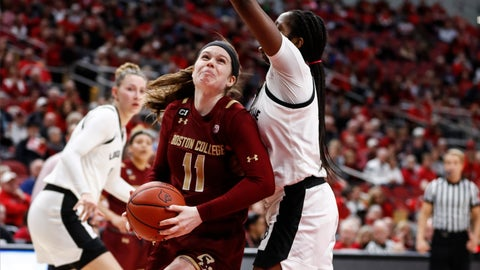 <p>               Boston College forward Emma Guy (11) drives for a shot as Louisville forward Elizabeth Dixon, right, defends during the first half of an NCAA college basketball game Thursday, Feb. 27, 2020, in Louisville, Ky. (AP Photo/Wade Payne)             </p>