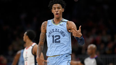 <p>               Memphis Grizzlies guard Ja Morant (12) gestures after a basket during the second half of an NBA basketball game against the Washington Wizards, Sunday, Feb. 9, 2020, in Washington. The Grizzlies won 106-99. (AP Photo/Nick Wass)             </p>