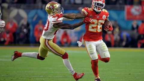 <p>               Kansas City Chiefs' Damien Williams, right, pulls away from San Francisco 49ers' Jimmie Ward on his way to the winning touchdown during the second half of the NFL Super Bowl 54 football game Sunday, Feb. 2, 2020, in Miami Gardens, Fla. (AP Photo/Mark J. Terrill)             </p>
