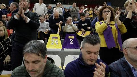 <p>               Spectators pay tribute to basketball legend Kobe Bryant and his daughter Gianna Maria prior to the start of the Italian Basketball second division match between Rieti and Scafati in Rieti's PalaSojourne, Italy, Wednesday, Feb. 5, 2020. Bryant spent seven years of his childhood in Rieti, where his father, Joe Bryant, made his Italian basketball debut in 1984 when Kobe was 6 years-old. (AP Photo/Gregorio Borgia)             </p>