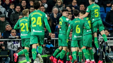 <p>               Real Sociedad players celebrate their second goal during a Spanish Copa del Rey soccer match between Real Madrid and Real Sociedad at the Santiago Bernabeu stadium in Madrid, Spain, Thursday, Feb. 6, 2020. (AP Photo/Manu Fernandez)             </p>
