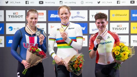 <p>               Winners pose with medals on the podium, with let to right, Jennifer Valente from the USA 2nd place, Kirsten Wild from the Netherlands 1st place, and Maria Martins from Portugal 3rd place, after medal presentation for the World Championships Scratch women's track cycle race in Berlin, Germany, Wednesday Feb. 26, 2020. (Sebastian Gollnow/dpa via AP)             </p>