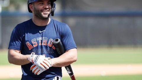 <p>               Houston Astros second baseman Jose Altuve (27) smiles before taking batting practice during spring training baseball practice, Tuesday, Feb. 18, 2020 in West Palm Beach, Fla. (Karen Warren/Houston Chronicle via AP)             </p>