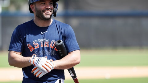 <p>               Houston Astros second baseman Jose Altuve (27) smiles before taking batting practice during spring training baseball practice, Tuesday, Feb. 18, 2020 in West Palm Beach, Fla. (Karen Warren/Houston Chronicle via AP)             </p>