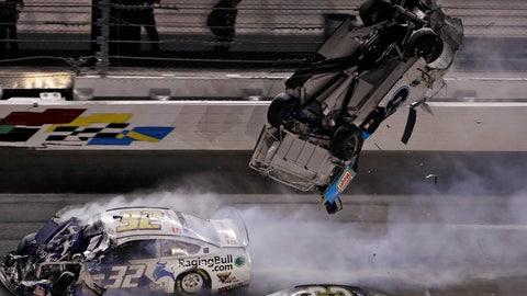 <p>               Ryan Newman (6) goes airborne after crashing into Corey LaJoie (32) during the NASCAR Daytona 500 auto race Monday, Feb. 17, 2020, at Daytona International Speedway in Daytona Beach, Fla. Sunday's running of the race was postponed by rain. (AP Photo/Chris O'Meara)             </p>