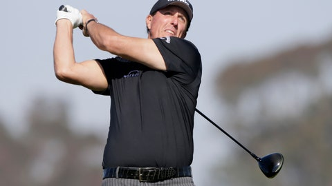 <p>               Phil Mickelson plays his shot from the fifth tee on the Torrey Pines South Course during the first round of The Farmers Insurance golf tournament in San Diego, Thursday, Jan. 23, 2020. (AP Photo/Alex Gallardo)             </p>