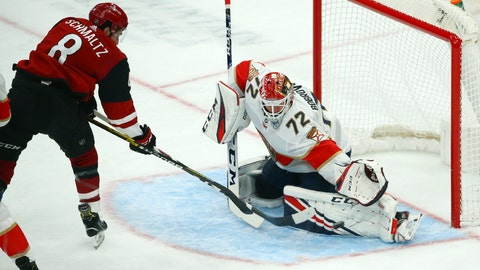 <p>               Florida Panthers goaltender Sergei Bobrovsky (72) makes a save on a shot by Arizona Coyotes center Nick Schmaltz (8) during the first period of an NHL hockey game Tuesday, Feb. 25, 2020, in Glendale, Ariz. (AP Photo/Ross D. Franklin)             </p>