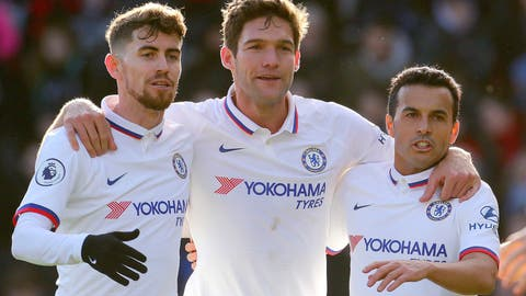 <p>               Chelsea's Marcos Alonso, centre, celebrates with team-mates Jorginho, left, and Pedro after scoring his side's first goal of the game against Bournemouth, in the English Premier League soccer match at the Vitality Stadium in Bournemouth, England, Saturday Feb. 29, 2020. (Mark Kerton/PA via AP)             </p>