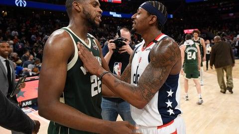 <p>               Washington Wizards guard Bradley Beal, right, meets with Milwaukee Bucks forward Khris Middleton (22) after an NBA basketball game, Monday, Feb. 24, 2020, in Washington. (AP Photo/Nick Wass)             </p>
