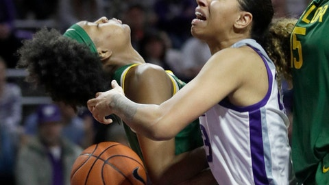 <p>               Kansas State guard Christianna Carr, right, is fouled by Baylor forward NaLyssa Smith, left, during the second half of an NCAA college basketball game in Manhattan, Kan., Saturday, Feb. 8, 2020. Baylor defeated Kansas State 54-40. (AP Photo/Orlin Wagner)             </p>