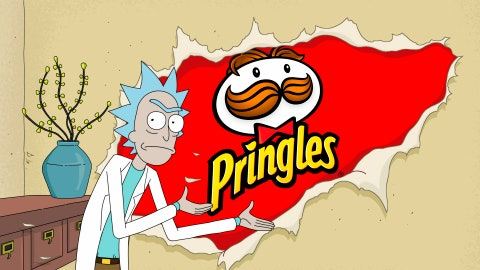 """<p>               This undated image provided by Pringles shows a scene from the company's 2020 Super Bowl NFL football spot which features characters from the """"Rick and Morty"""" show. (Pringles via AP)             </p>"""