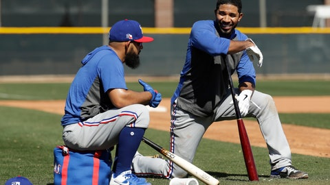 <p>               Texas Rangers' Rougned Odor, left, and Elvis Andrus talk while waiting to bat during spring training baseball practice Monday, Feb. 17, 2020, in Surprise, Ariz. (AP Photo/Charlie Riedel)             </p>