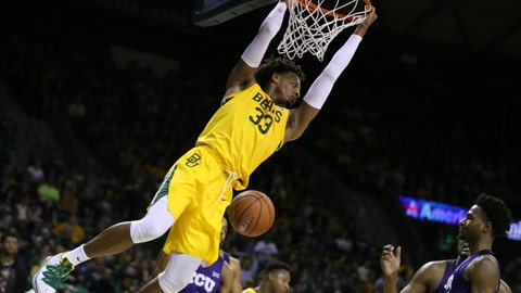 <p>               Baylor forward Freddie Gillespie dunks over TCU in the second half of an NCAA college basketball game, Saturday, Feb. 1, 2020, in Waco, Texas. Baylor won 68-52. (AP Photo/Rod Aydelotte)             </p>