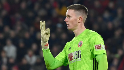 <p>               Sheffield United's goalkeeper Dean Henderson gestures during the English Premier League soccer match between Sheffield United and Manchester City at Bramall Lane in Sheffield, England, Tuesday, Jan. 21, 2020. (AP Photo/Rui Vieira)             </p>